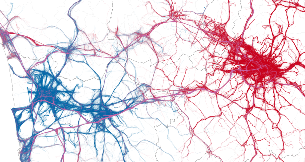 "A visualization of the complexity of the explored mobility patterns. A fragment of the GPS trajectories used in our study, displaying trips originating in the metropoli- tan areas of Pisa (in blue) and Florence (red). Although a plain georeferenced visualization of experimental data, it reveals the confrontation of two ""competing"" metropolitan areas. It also demonstrates the ability of Big Data to portray social complexity."